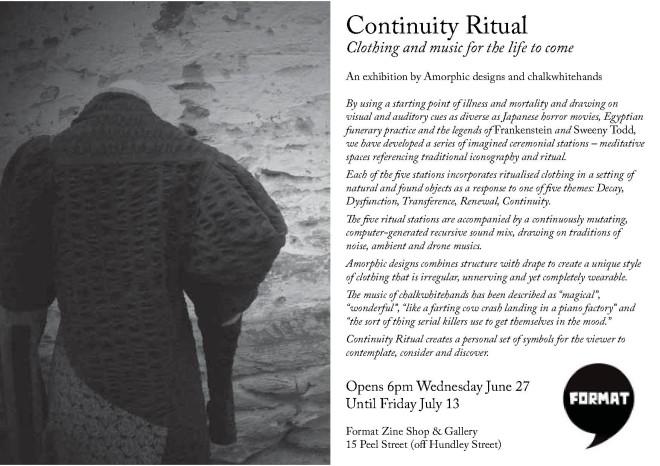 Continuity Ritual exhibition invitation